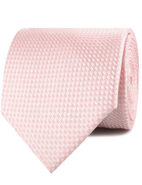 Pink Basket Weave Checkered Necktie