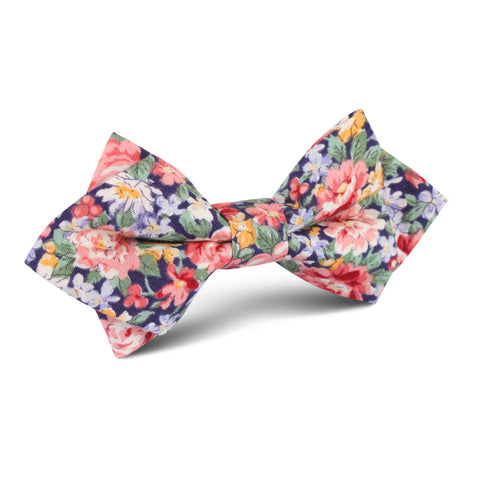 Pink Chrysanthemum Floral Diamond Bow Tie