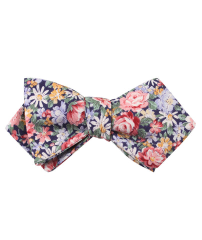 Pink Chrysanthemum Floral Diamond Self Bow Tie