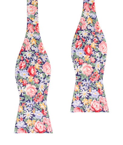 Pink Chrysanthemum Floral Self Bow Tie
