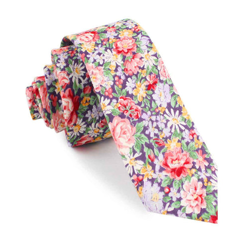 Purple Giverny Floral Skinny Tie
