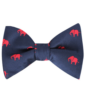 Pink Elephant Self Bow Tie