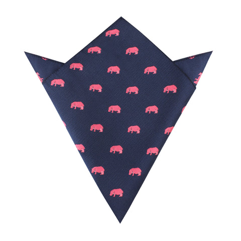 Pink Hippo Pocket Square