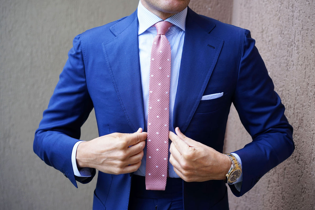 Pink Knitted Tie with White Polka Dots