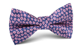 Pink Plum Blossom Floral Bow Tie