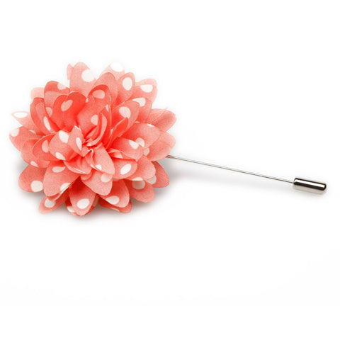 Pink Polka Dot Lapel Flowers