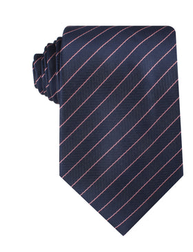 Pink Striped Navy Blue Herringbone Necktie