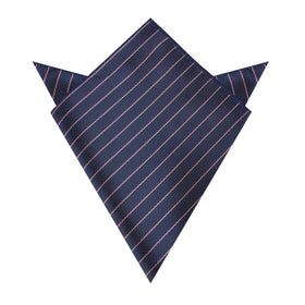 Pink Striped Navy Blue Herringbone Pocket Square