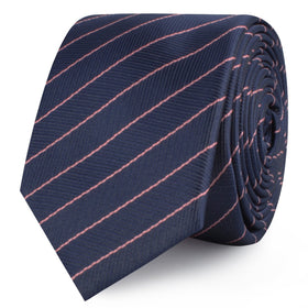 Pink Striped Navy Blue Herringbone Skinny Tie