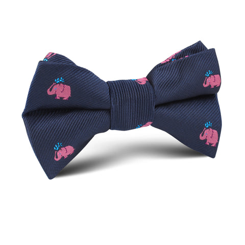 Pink Water Elephant Kids Bow Tie