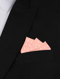 Pink with White Polka Dots Cotton Oxygen Three Point Pocket Square Fold
