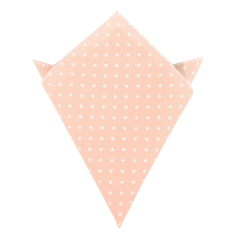 Pink with White Polka Dots Cotton Pocket Square