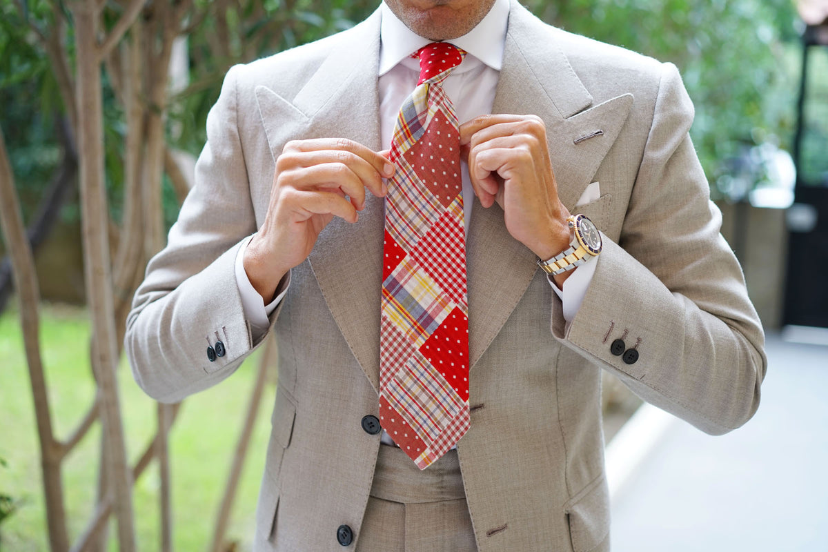 Plaid Red Gingham Cotton Polka Dot Necktie