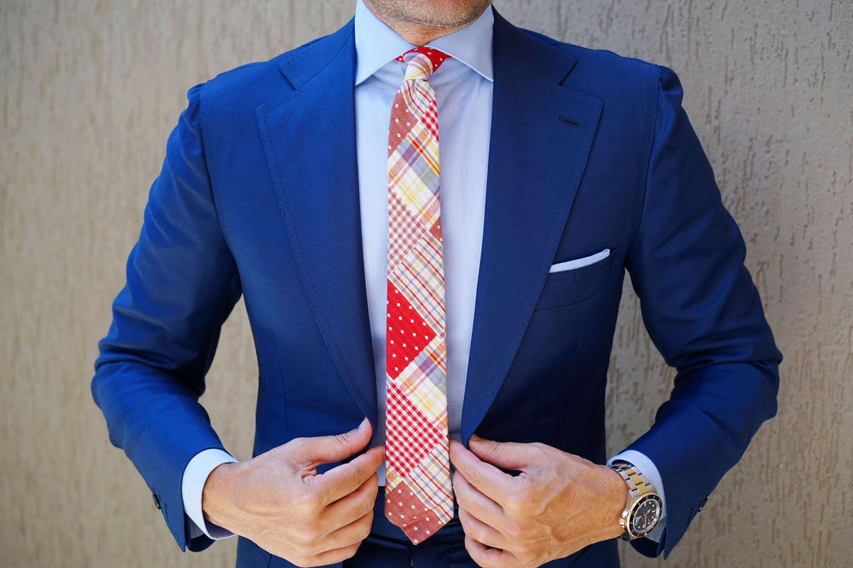 Plaid Red Gingham Cotton Polka Dot Skinny Tie