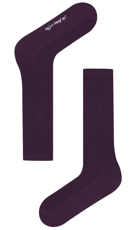 Plum Purple Ribbed Socks