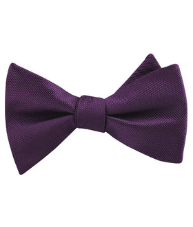 Plum Purple Weave Self Bow Tie