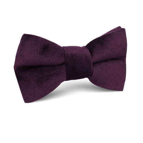 Plum Purple Velvet Kids Bow Tie