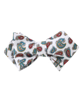 Ponte Vecchio White Paisley Diamond Self Bow Tie