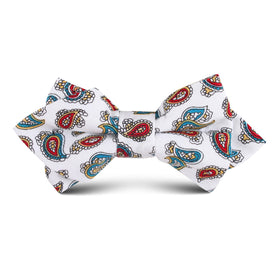 Ponte Vecchio White Paisley Kids Diamond Bow Tie