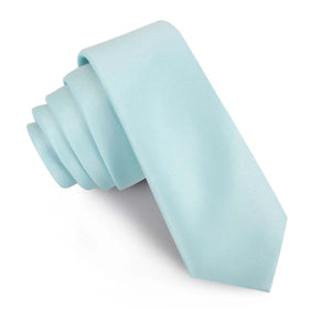 Powder Blue Satin Skinny Tie