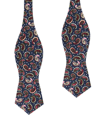Prague Paisley Blue Floral Diamond Self Bow Tie