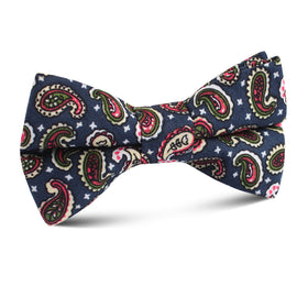Prague Paisley Blue Floral Kids Bow Tie
