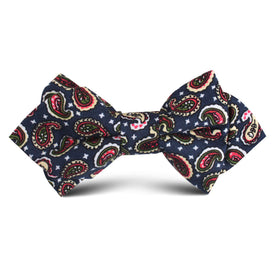 Prague Paisley Blue Floral Kids Diamond Bow Tie