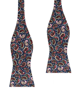 Prague Paisley Blue Floral Self Bow Tie