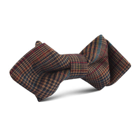Prince of Wales Brown Diamond Bow Tie