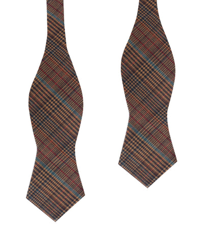 Prince of Wales Brown Diamond Self Bow Tie
