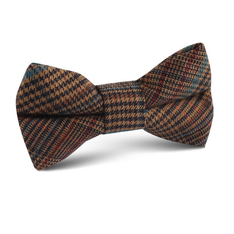 Prince of Wales Brown Kids Bow Tie