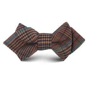 Prince of Wales Brown Kids Diamond Bow Tie