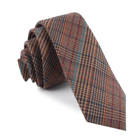 Prince of Wales Brown Skinny Tie