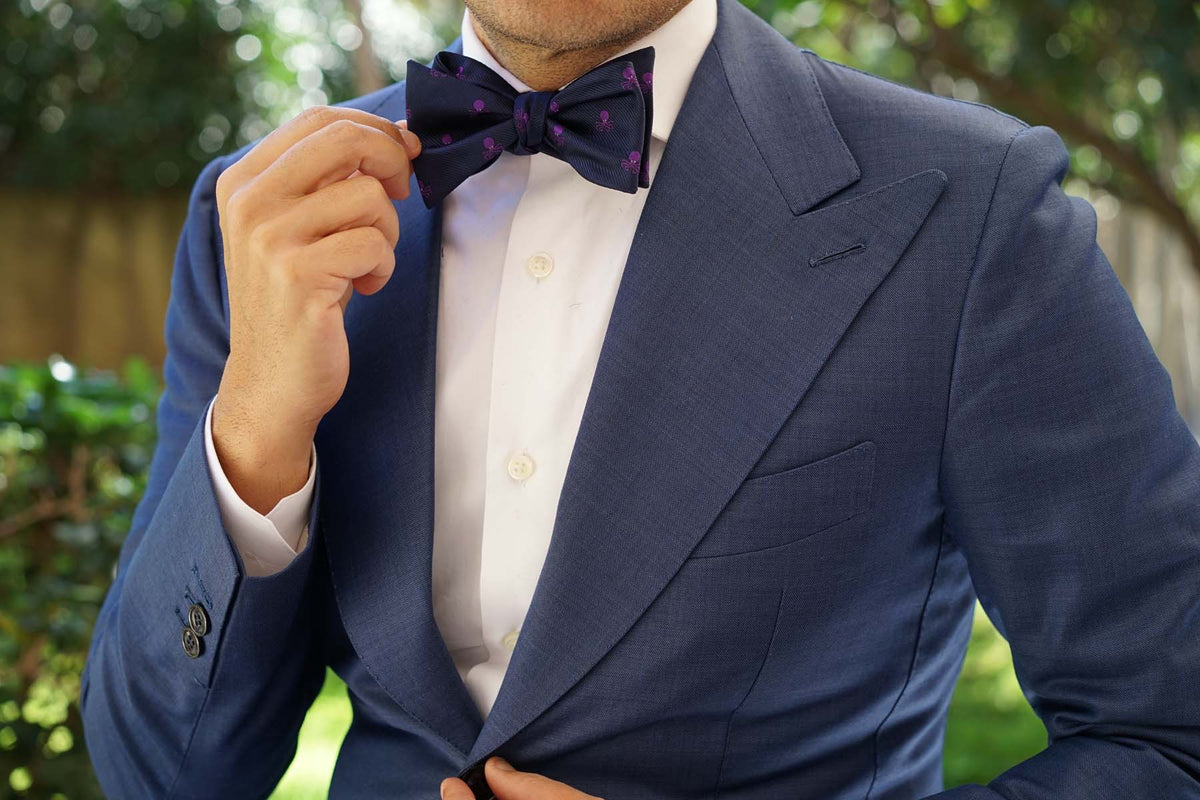 Purple Octopus Self Bow Tie