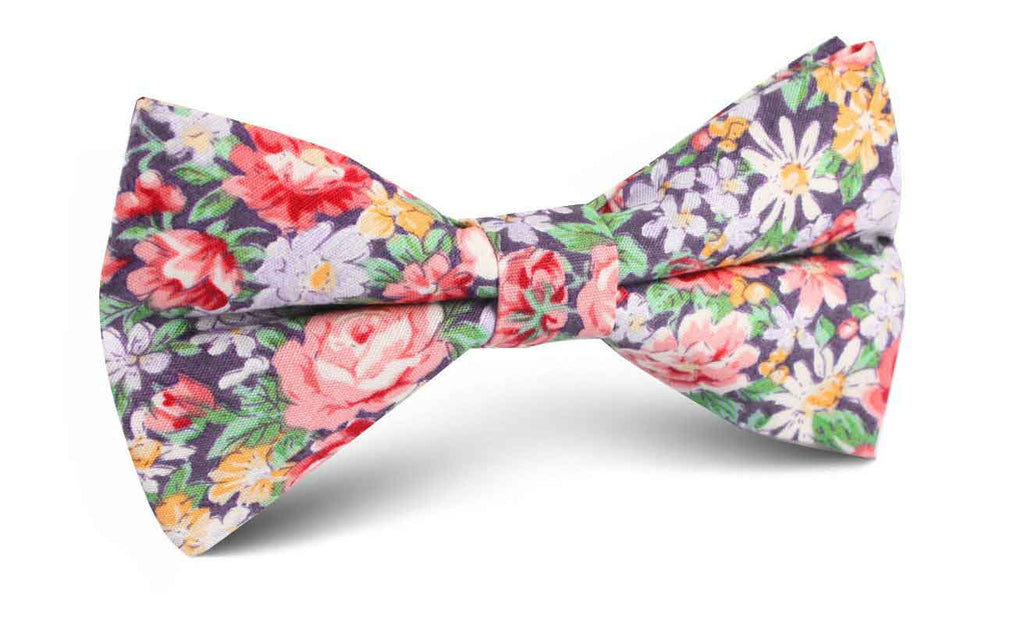 Purple Giverny Floral Bow Tie