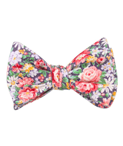 Purple Giverny Floral Self Bow Tie