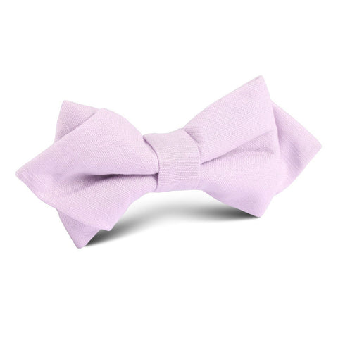 Purple Lilac Lavender Slub Linen Diamond Bow Tie