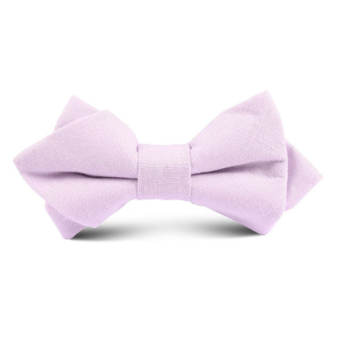 Purple Lilac Lavender Slub Linen Kids Diamond Bow Tie