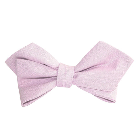 Purple Lilac Lavender Slub Linen Self Tie Diamond Tip Bow Tie