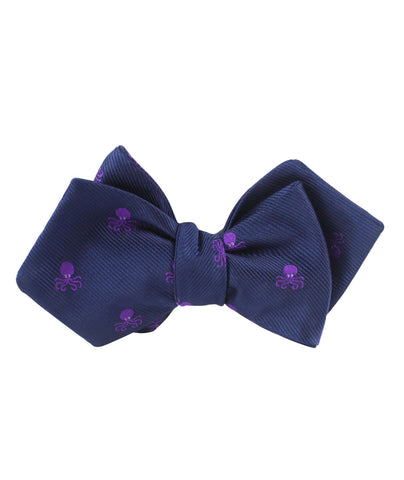 Purple Octopus Diamond Self Bow Tie