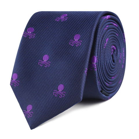 Purple Octopus Skinny Tie