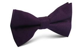 Purple Plum Slub Linen Bow Tie