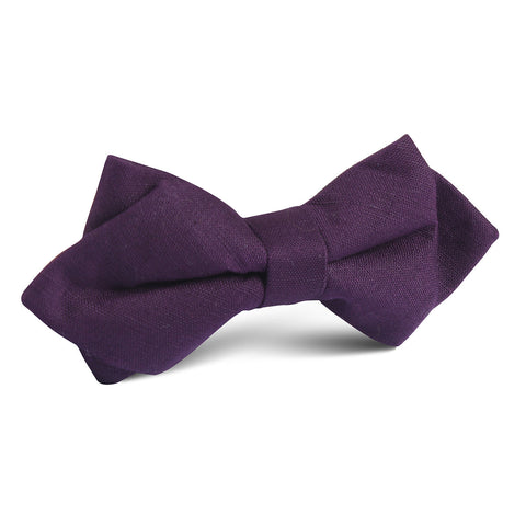 Purple Plum Slub Linen Diamond Bow Tie