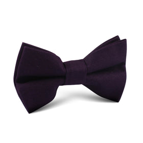 Purple Plum Slub Linen Kids Bow Tie