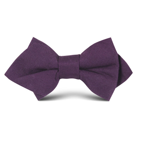 Purple Plum Slub Linen Kids Diamond Bow Tie