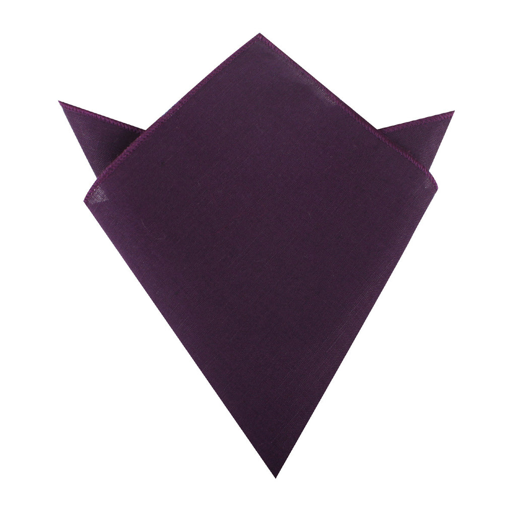 Purple Plum Slub Linen Pocket Square Men Handkerchiefs