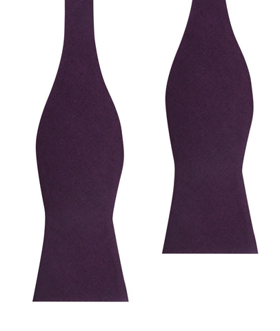Purple Plum Slub Linen Self Tie Bow Tie