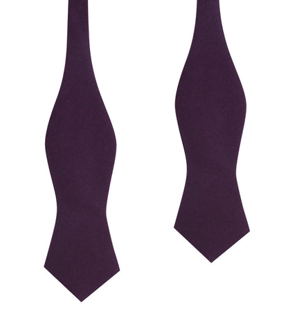 Purple Plum Slub Linen Self Tie Diamond Tip Bow Tie
