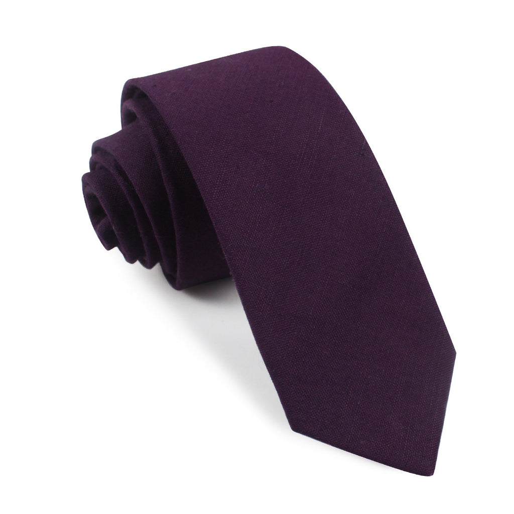 purple plum slub linen tie slim thin ties