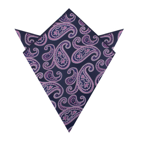 Qajar Dynasty Purple Paisley Pocket Square